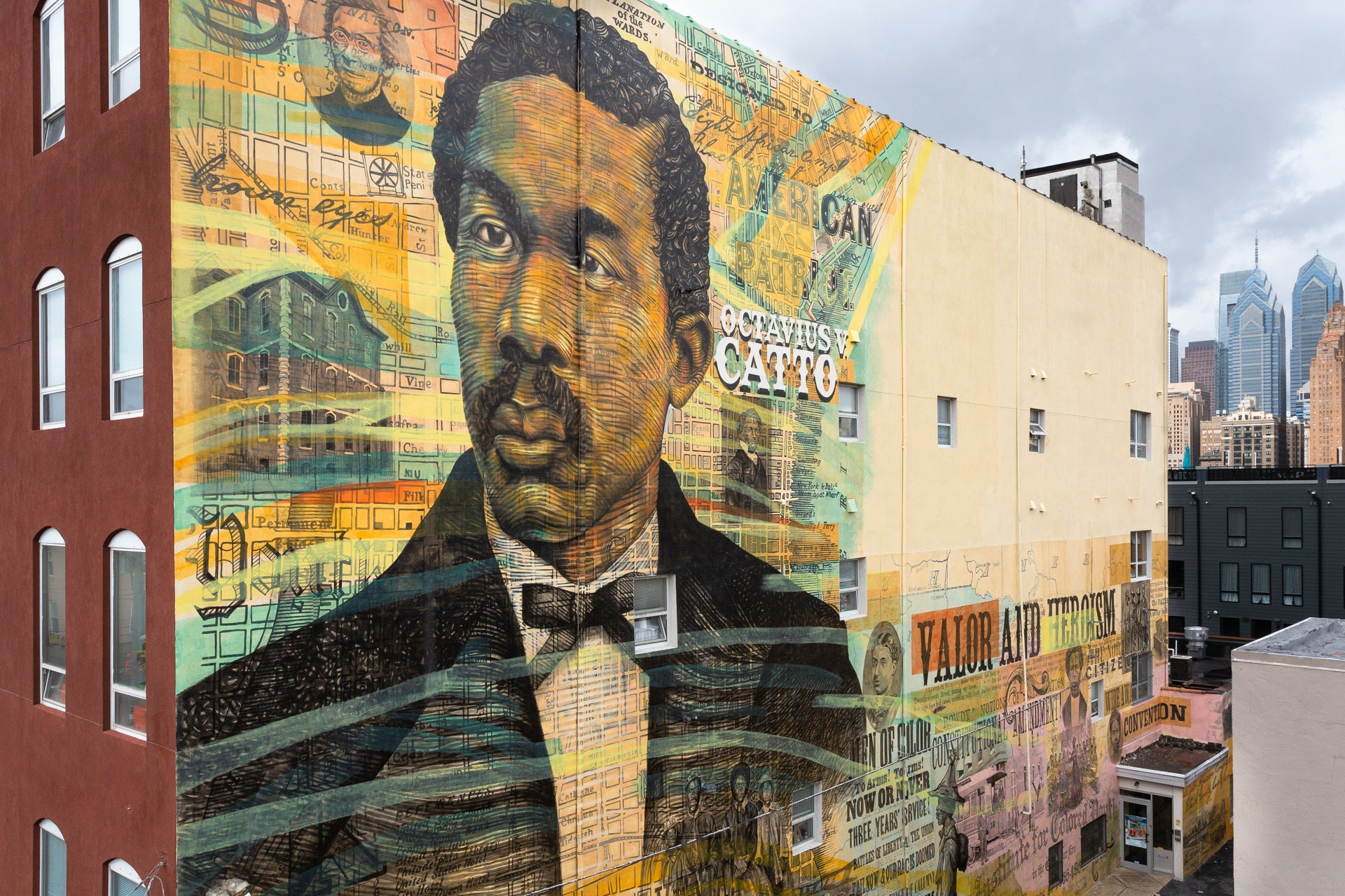 "The City of Philadelphia Mural Arts Program is responsible for a number of impressive murals throughout the city, including this one, ""Remembering a Forgotten Hero,"" a portrait of civil rights activist Octavius Catto by Keir Johnston and Willis Nomo Humphrey."