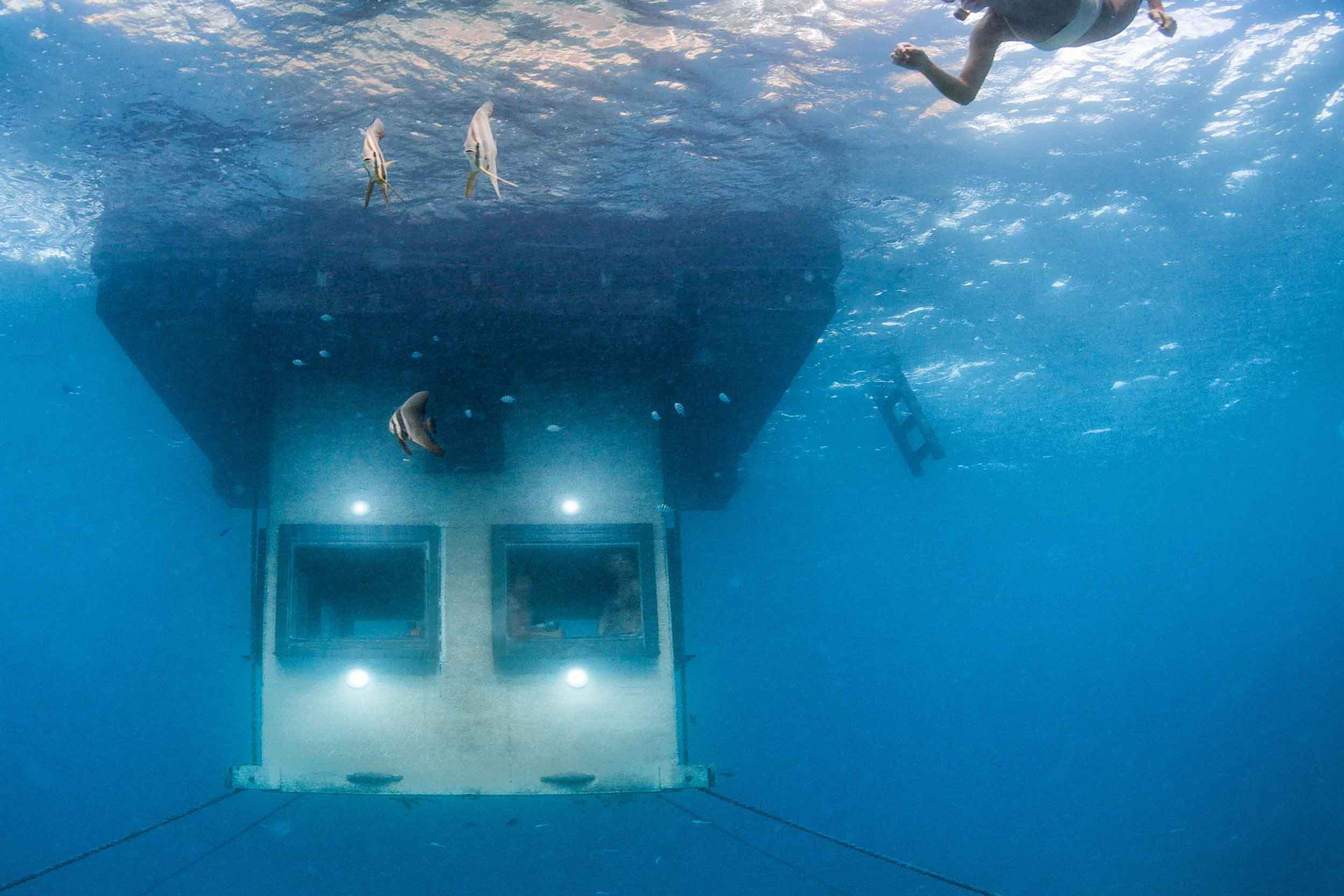 Looking in to the Underwater Room at The Manta Resort