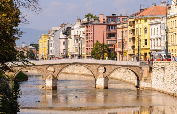 The Latin Bridge in Sarajevo is the site famous for the incident that provoked the start of World War I.