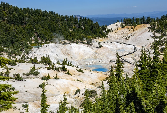 The Bumpass Hell Trail winds around a popular area of geothermal activity.