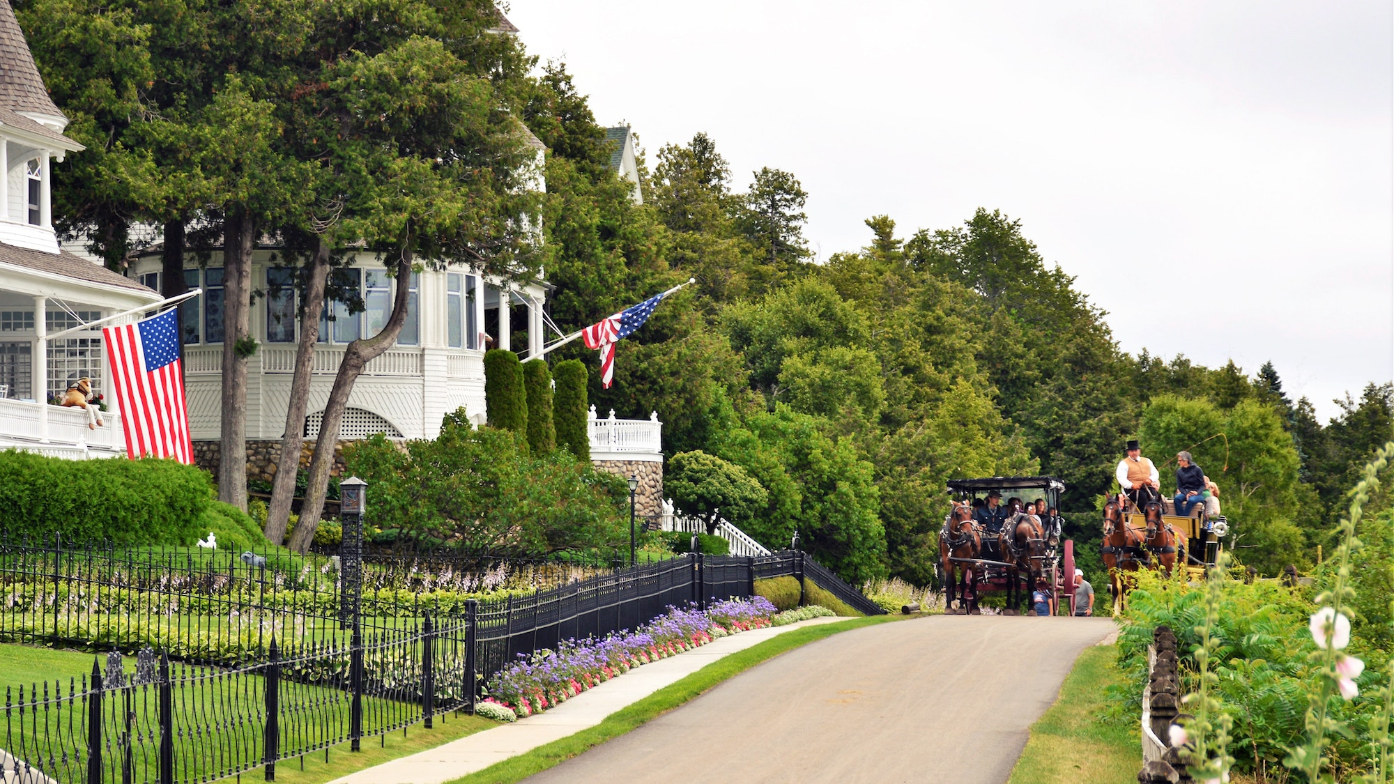 Take in the historic houses of Mackinac Island in a horse and carriage.
