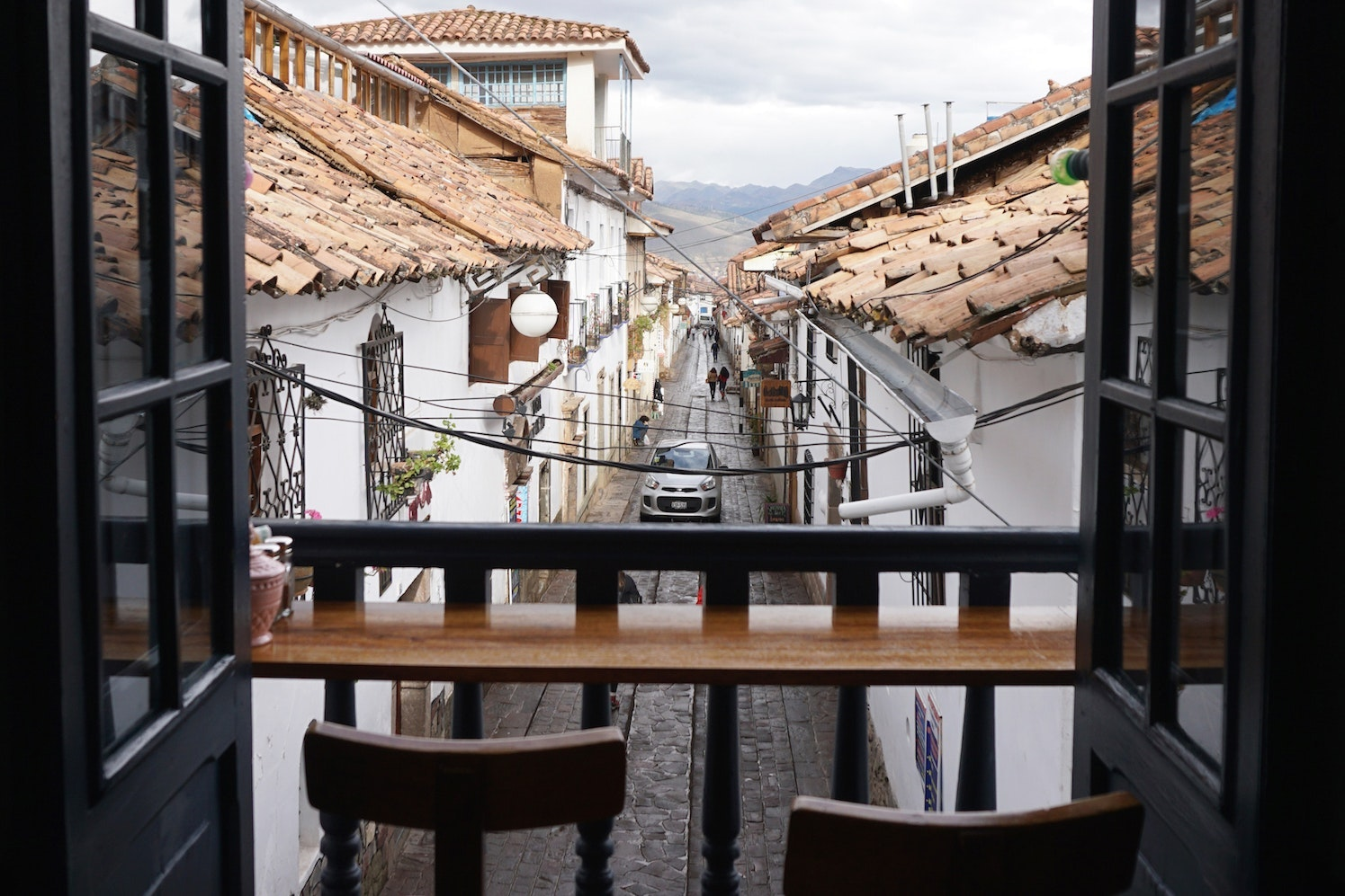 The view from L'Atelier, a hip coffee shop in the San Blas neighborhood
