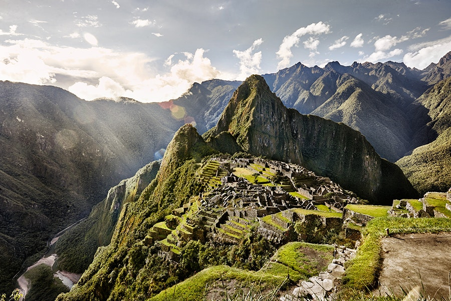 Machu Picchu, a UNESCO World Heritage site, sits in the Andes Mountains, only a day-trip away from the city of Cuzco.