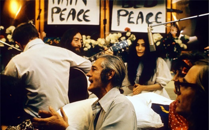 The circus that was the John Lennon/Yoko Ono Bed-In for Peace.