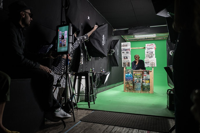 The videos were filmed in front of a green screen in JR's mobile studio. He instructed people to pose how they wanted to be represented.