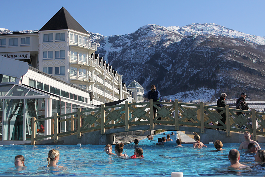 Hotel Ullensvang family-friendly bathing area includes a jacuzzi and Japanese massage creek.
