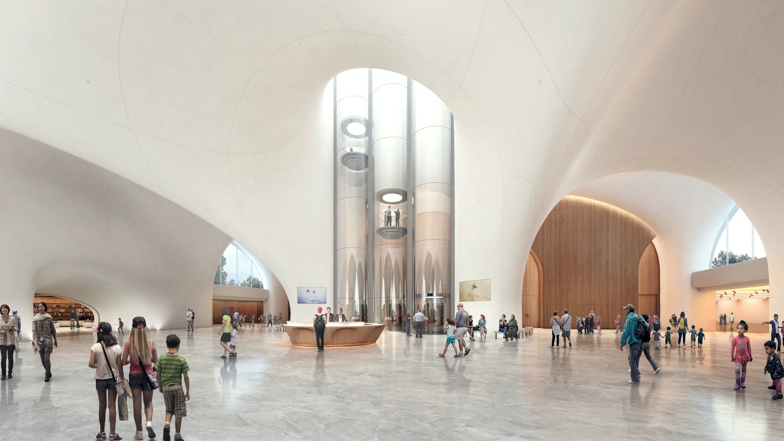 The Lucas Museum's cavernous main hall will lead to galleries, a research library, classrooms, and screening rooms.