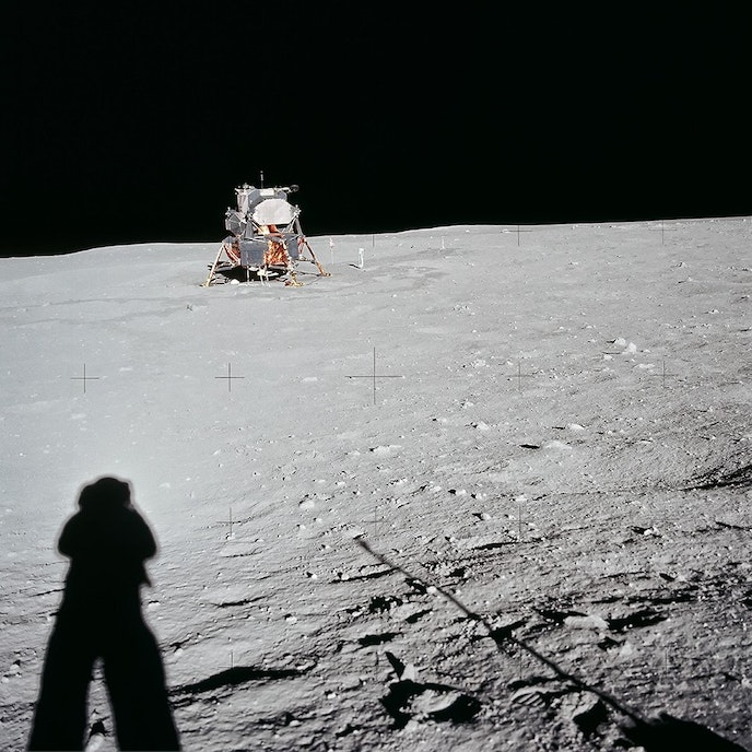 Astronaut Neil Armstong photographs his shadow on the moon's East Crater on July 20, 1969.