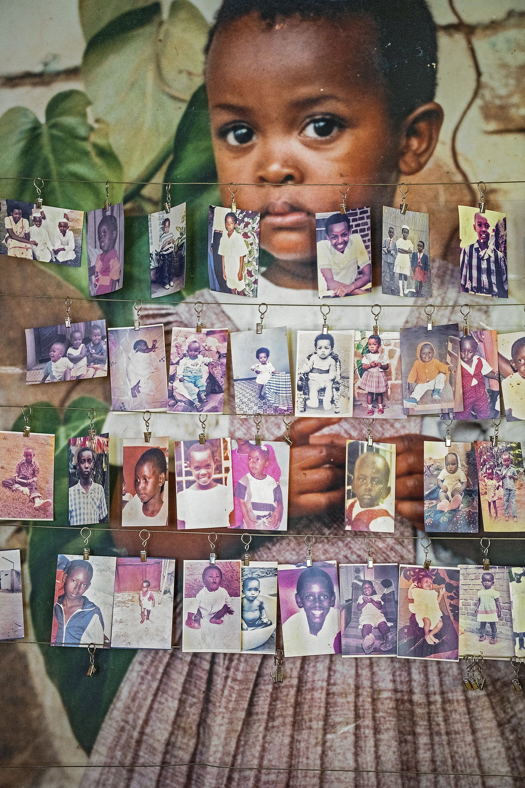 Photos of victims in the Kigali Genocide Memorial