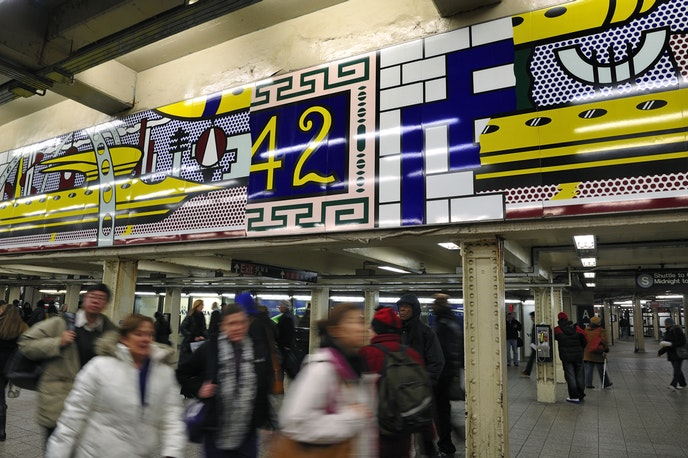 """In the 42nd Steet subway, see """"Times Square Mural"""" by New York native Roy Lichtenstein."""