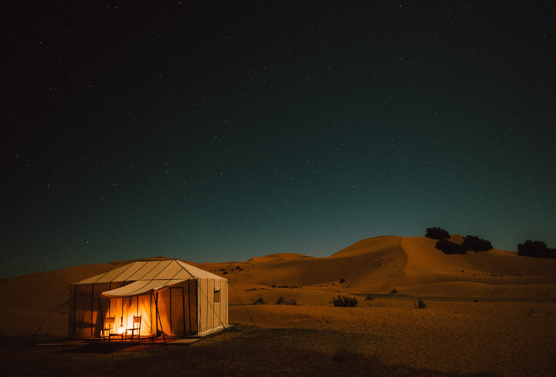 Only a few camps offer overnight stays in the Sahara. Erg Chebbi Luxury Desert Camp's tents included showers, fantastic tagine, and the location can't be beat.