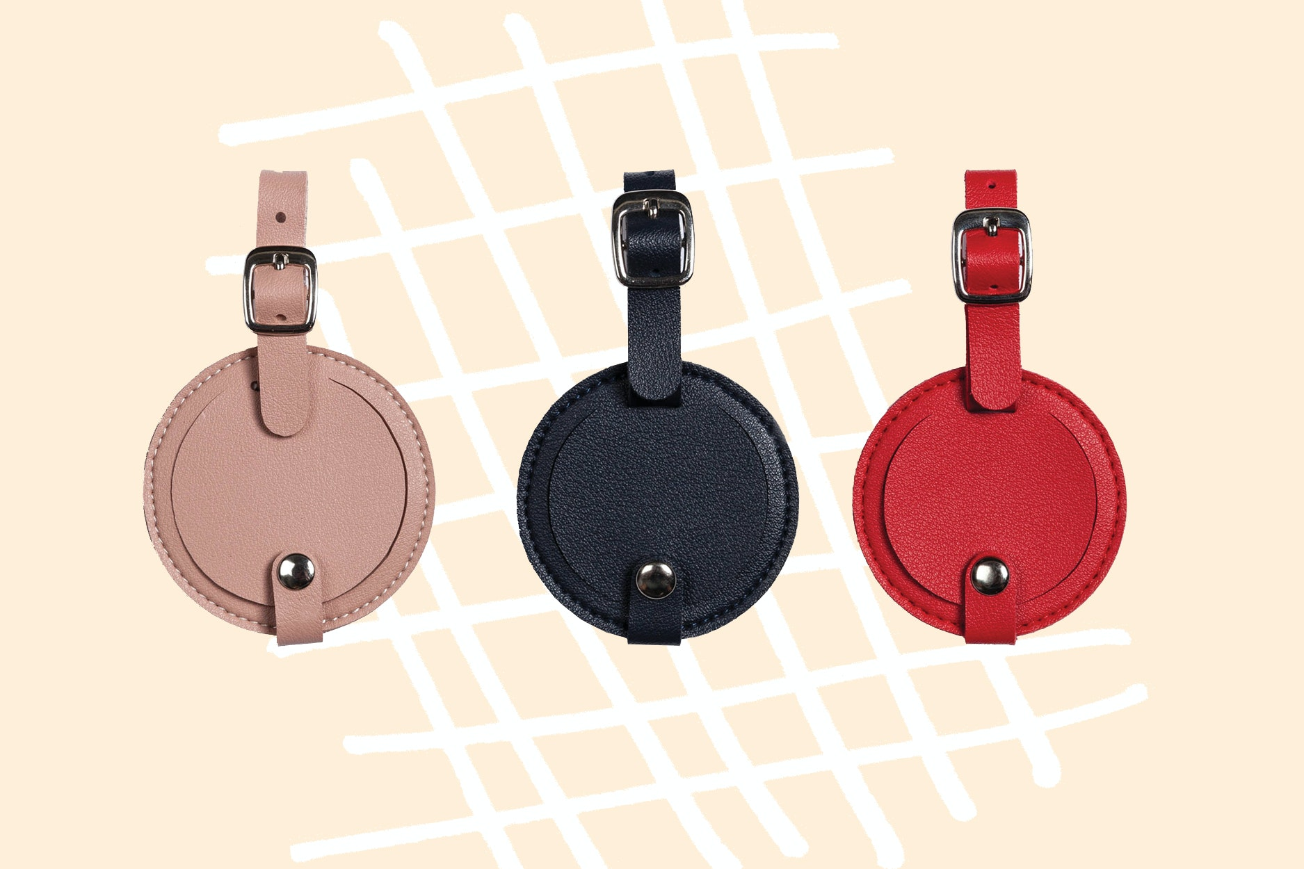 Round luggage tags come in a handy size and multiple hues.