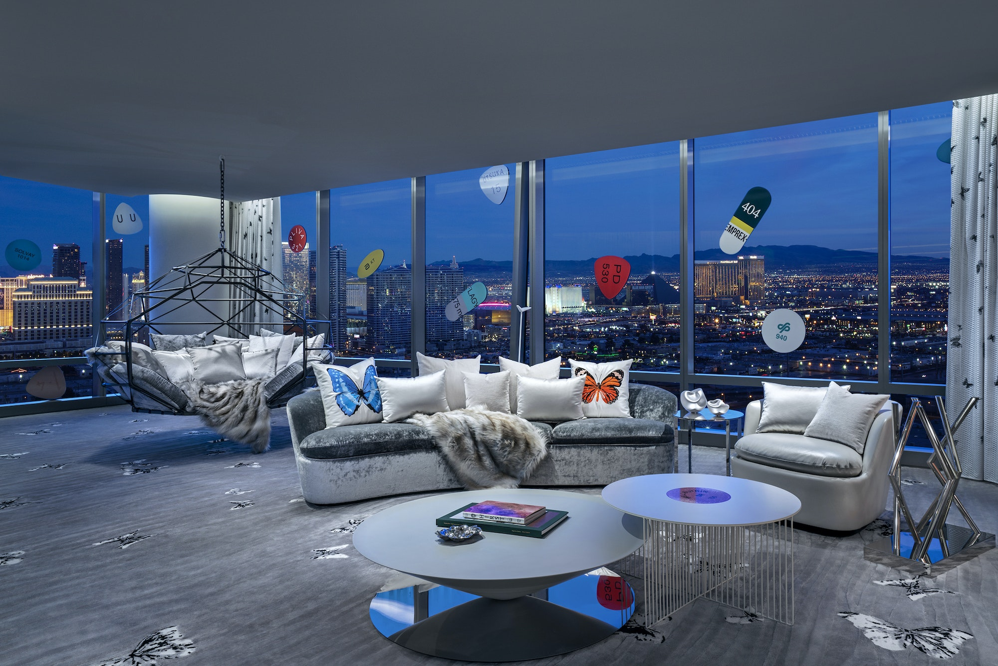 The suite boasts a phenomenal view of the Vegas strip.