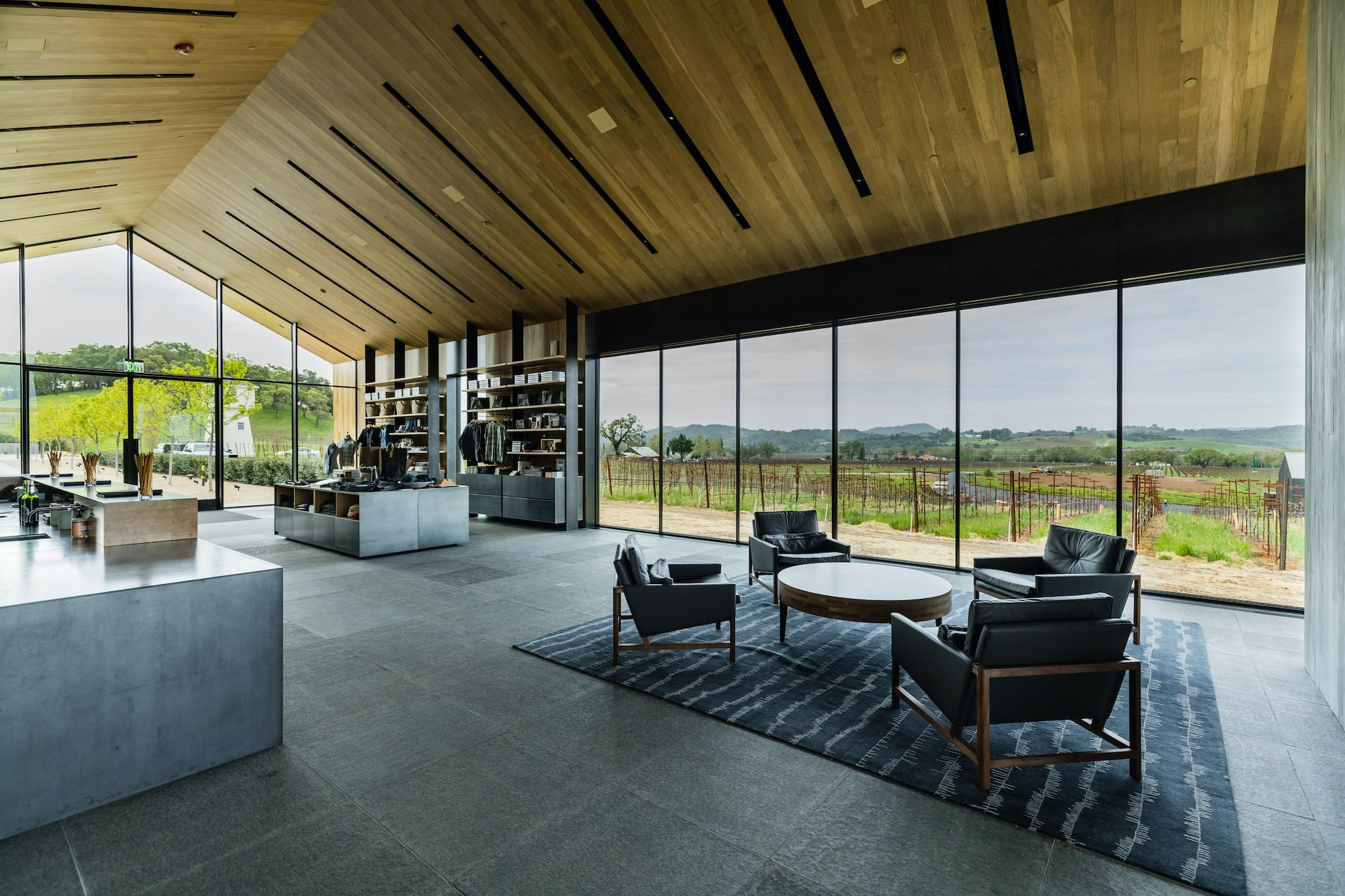 Architect Daniel Piechota designed the tasting room to frame the winery's 75 acres of cabernet vines.