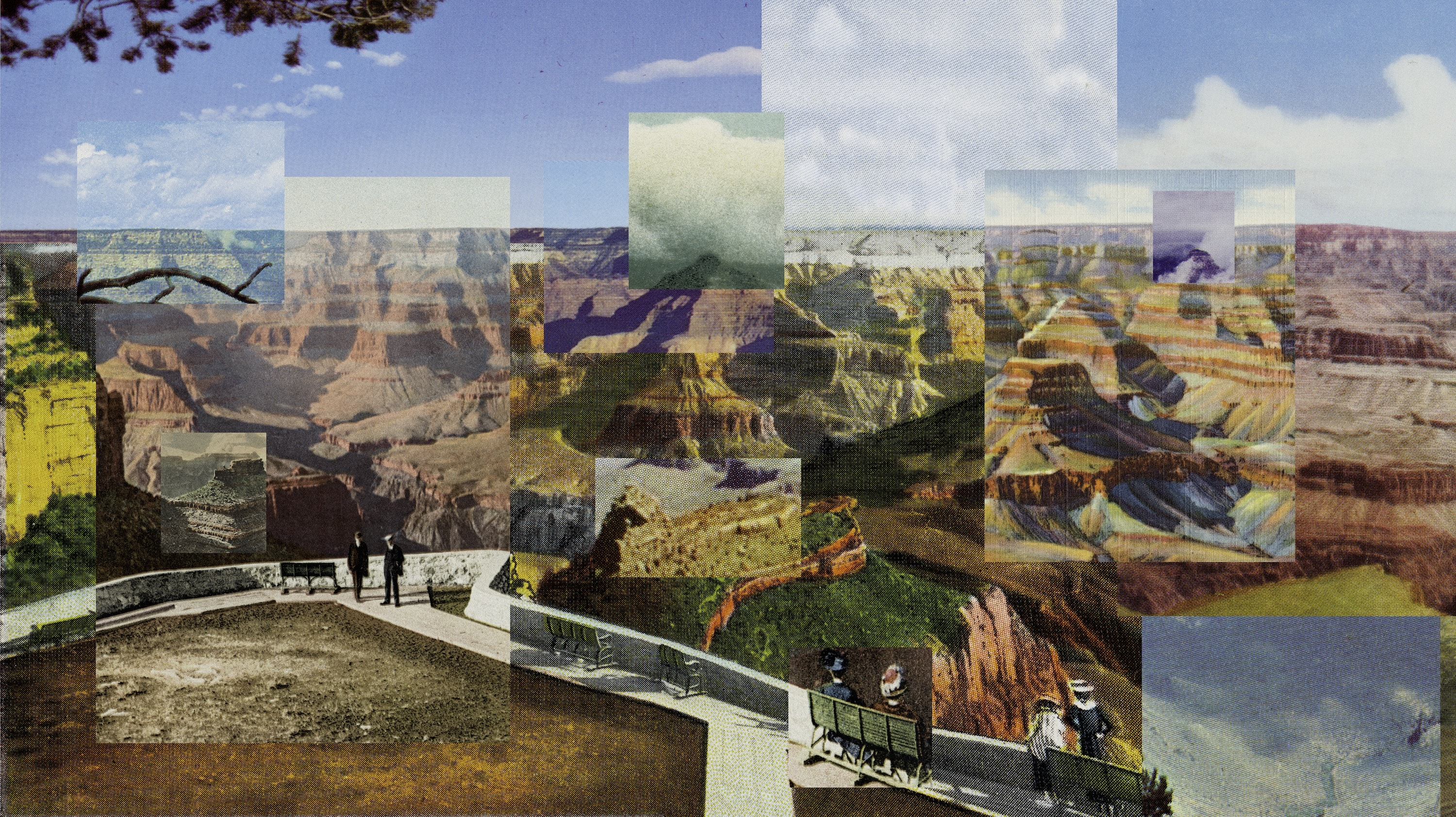 Reconstructing the view from the El Tovar to Yavapai Point using nineteen postcards