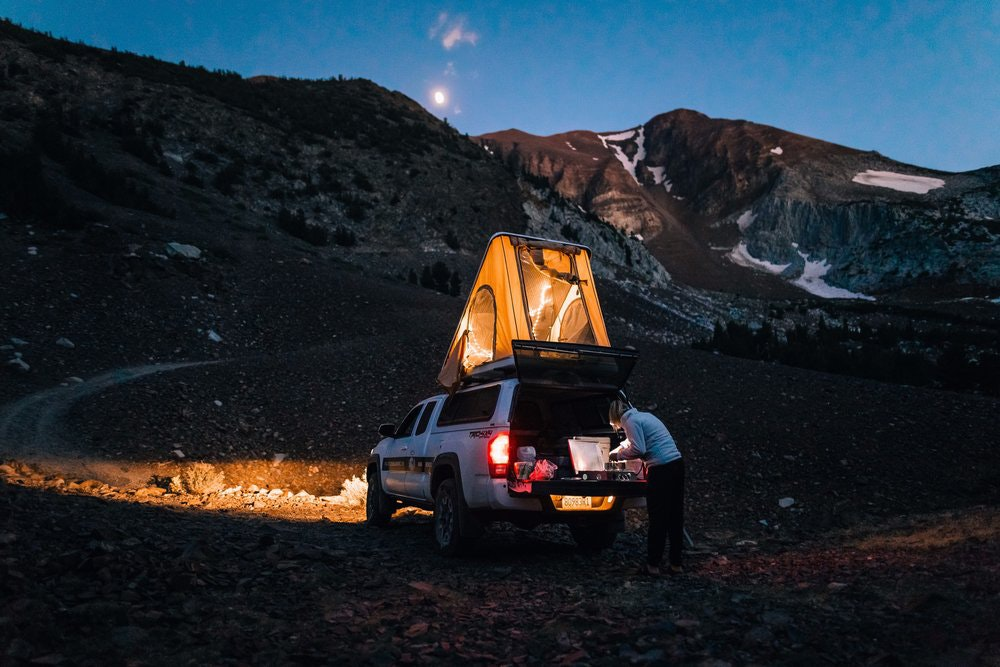 Each of Pacific Overlander's 4x4 SUVs has a rooftop tent.
