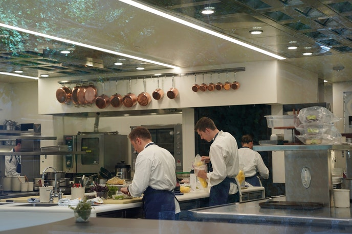 Chefs work in the kitchen of The French Laundry in Yountville.