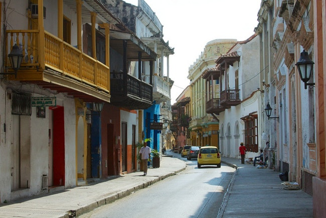 The streets of Caragena in Colombia, where Trey loves the regional cuisine