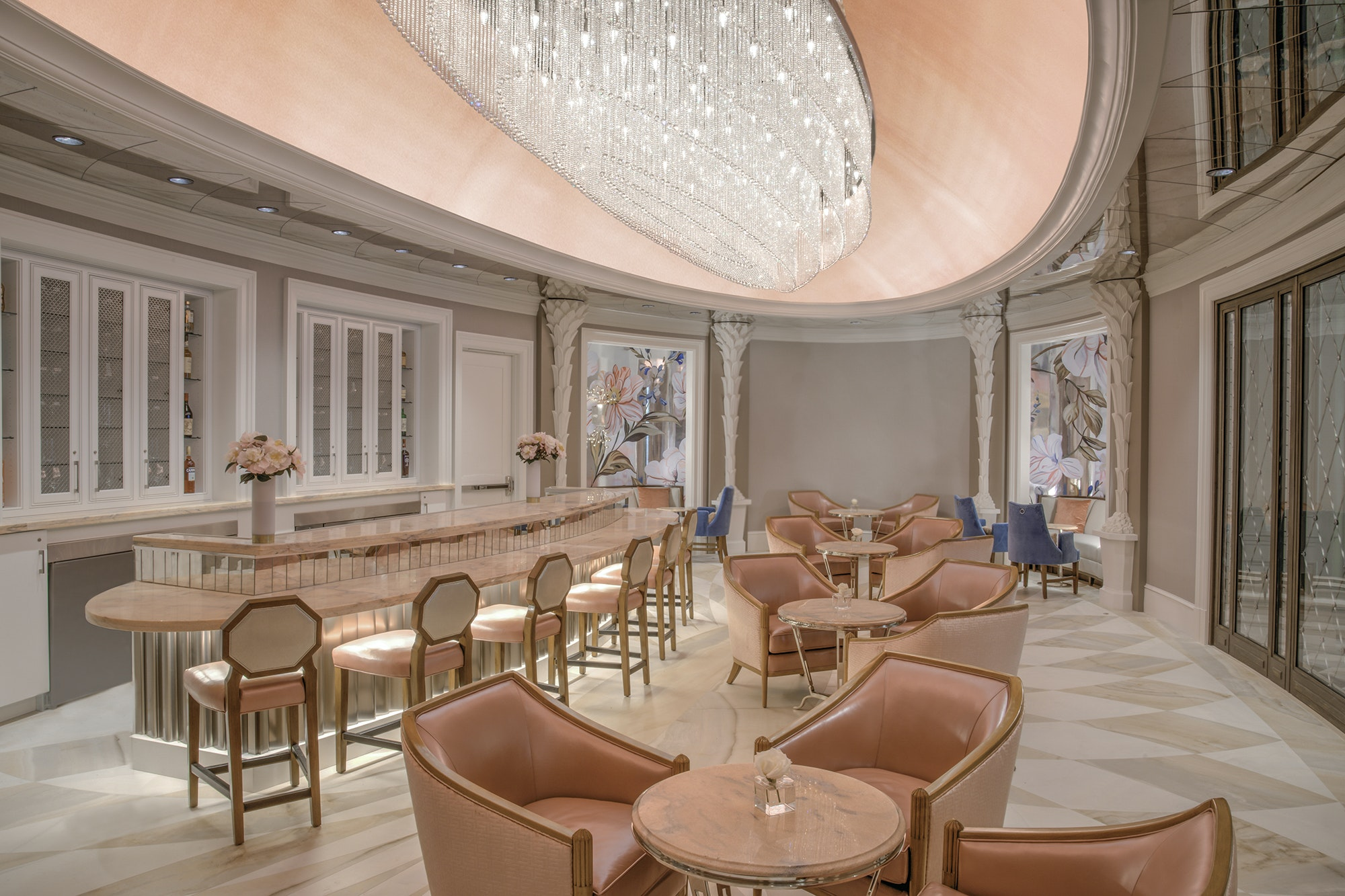 Inside Camellias, the champagne bar inside the new Hotel Bennett on Marion Square.
