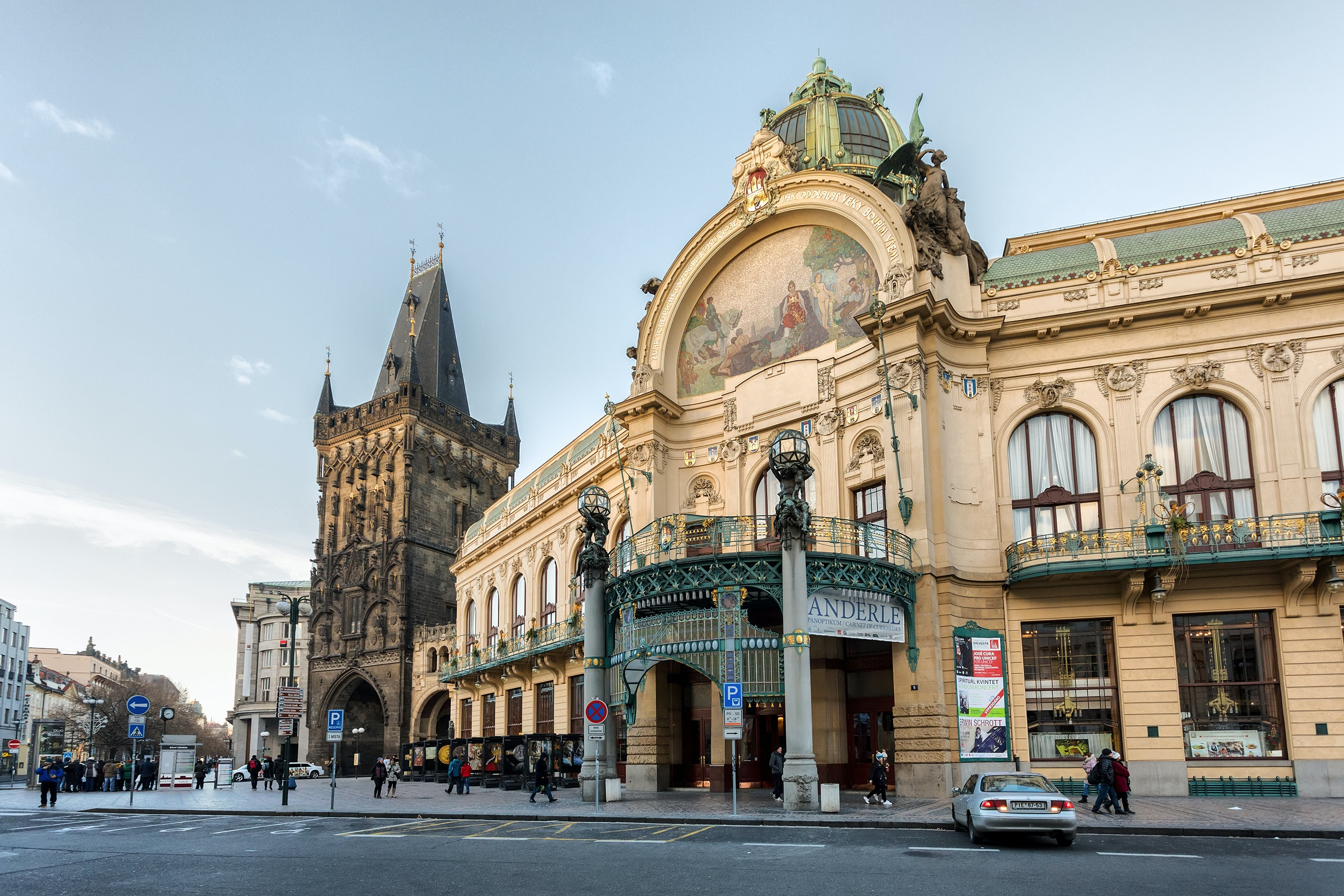 Besides its art nouveau facade, the Municipal House in Prague also houses artwork by Alfons Mucha.