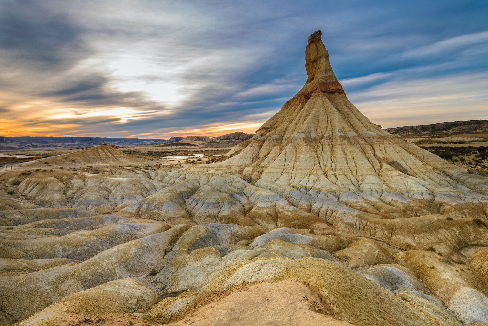 Bardenas Reales's abstract landscape is the result of centuries of erosion to the soil's clay, chalk, and sandstone.