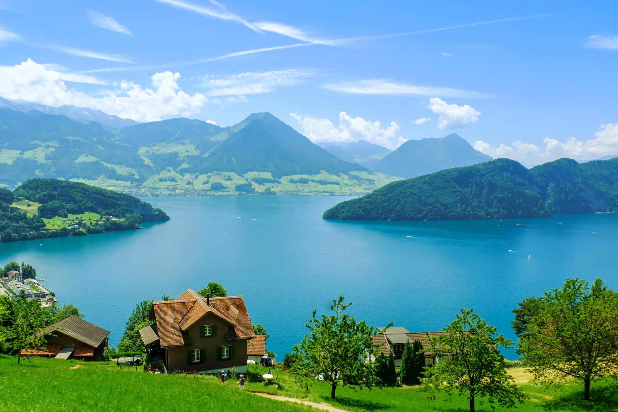 The view of Lake Lucerne from Mount Rigi.