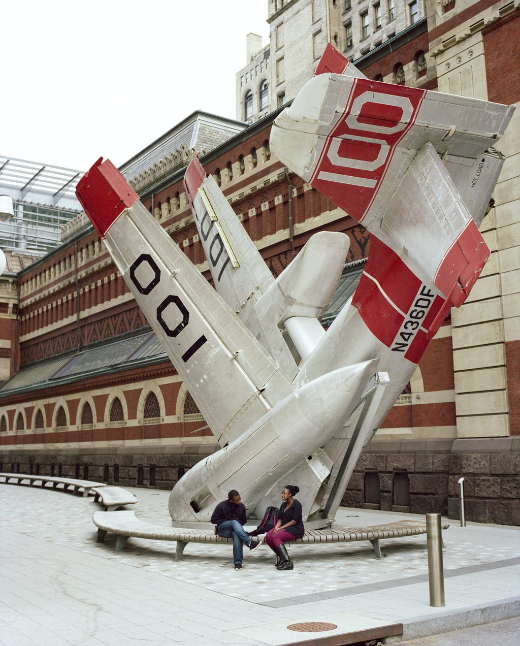 A former military plane was repurposed as a public art sculpture in the Lenfest Plaza at Pennsylvania Academy of the Fine Arts.