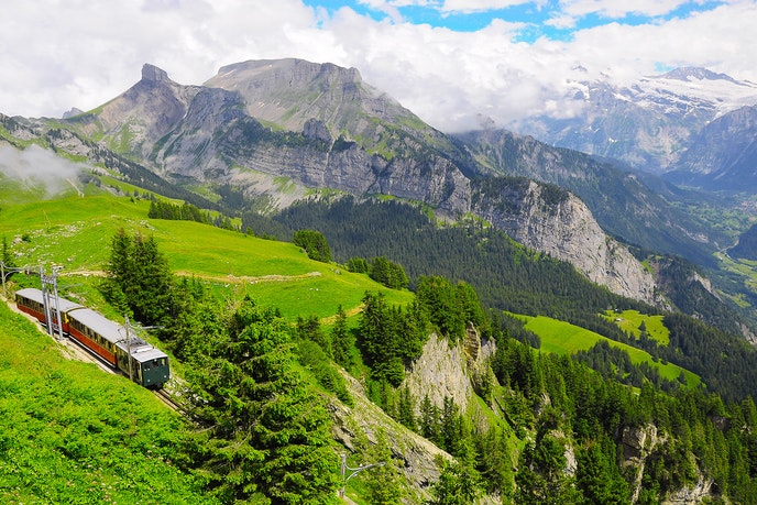 The hills are alive with the sound of vintage train cars in Switzerland.