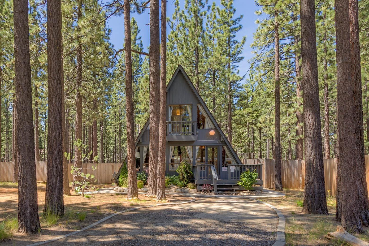 A classic A-frame cabin with modern, playful interior touches.