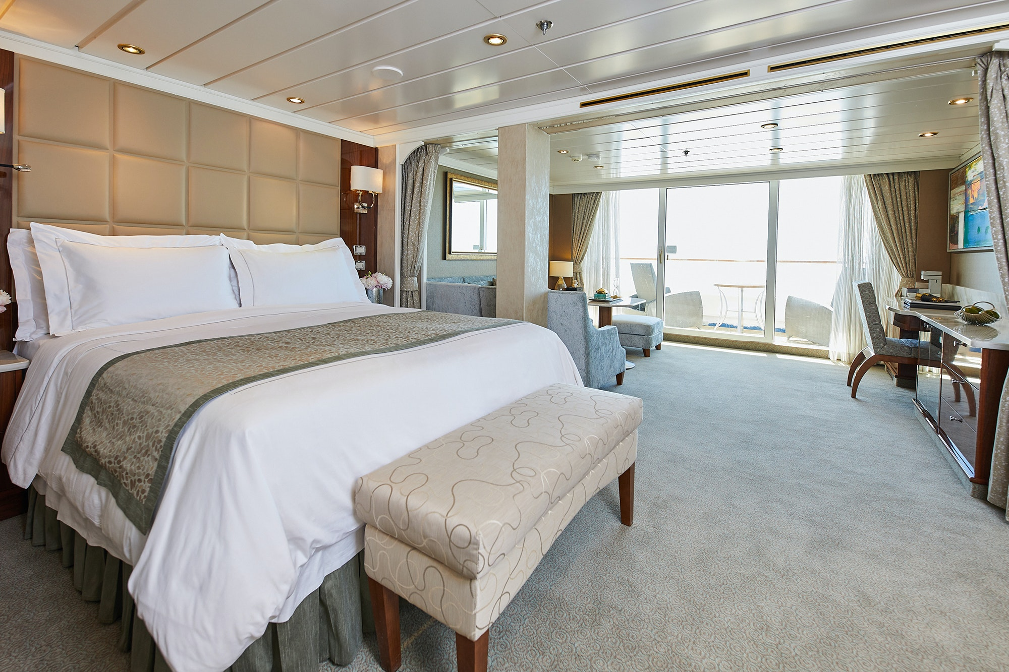 All cabins on the Seven Seas Mariner are suites with private balconies.