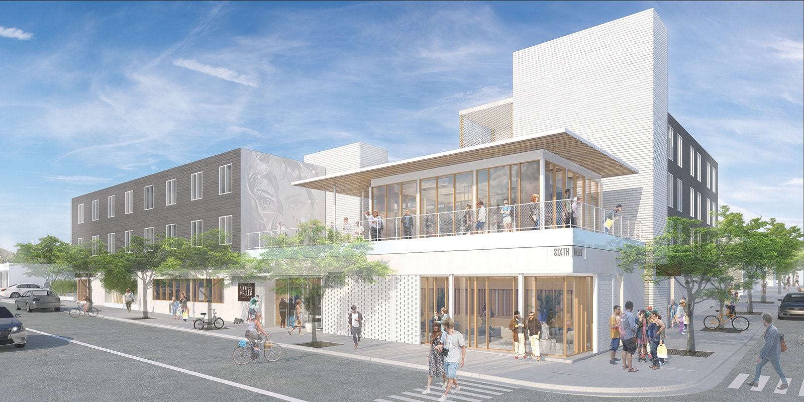 A rendering of the exterior of East Austin Hotel