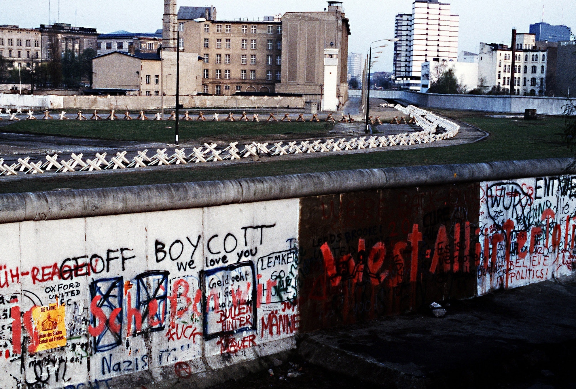 A photo of the Berlin Wall in 1983. The partition separated Communist-controlled East Germany from West Berlin.