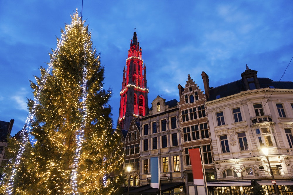 Festive lights sparkle at the Grote Markt in Antwerp, Belgium.