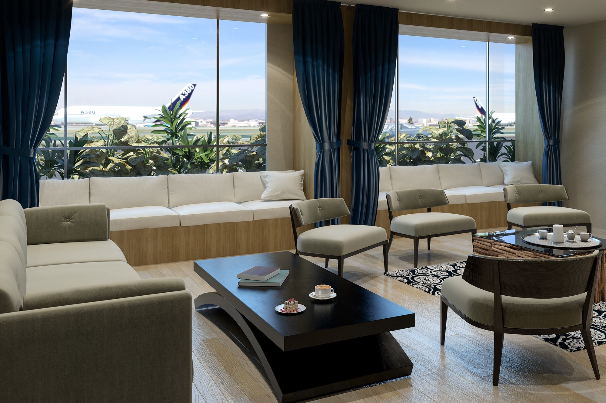 Each of 13 suites features runway views, private bathrooms, and homelike amenities.