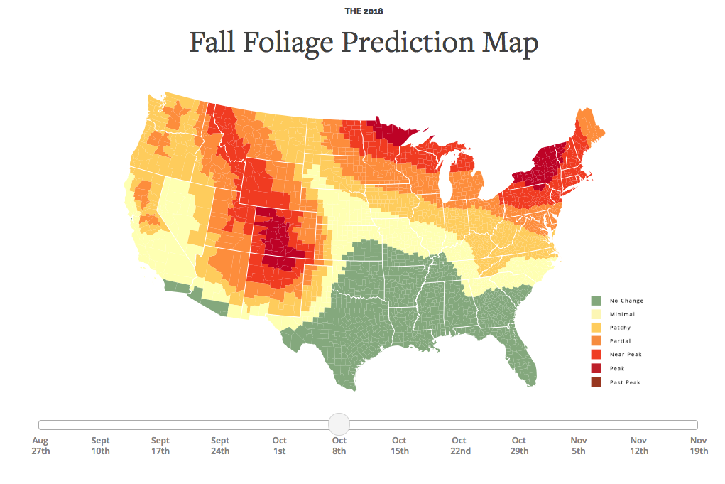 By early October, much of New England will be at or near peak fall color in 2018.