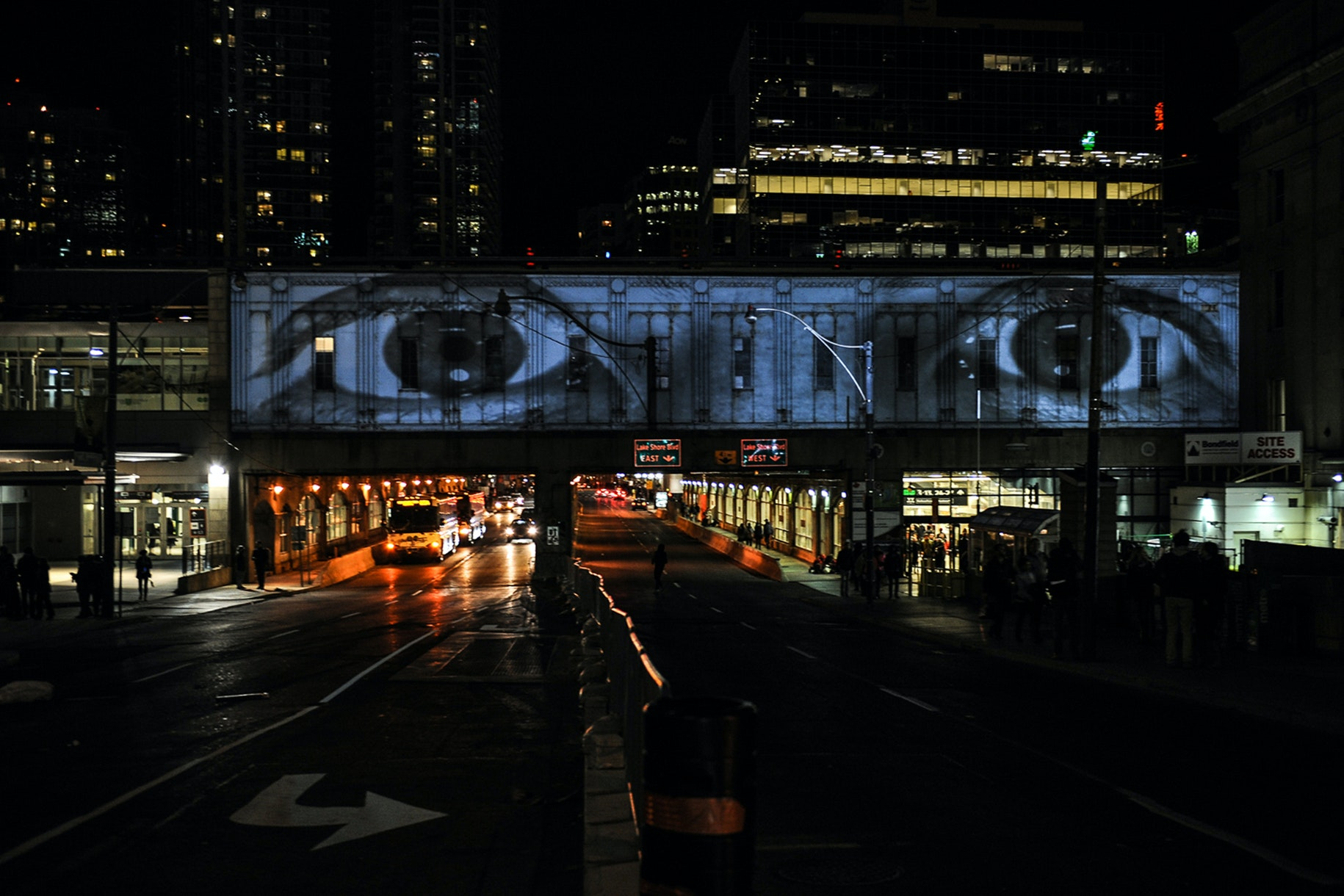 """The Eyes of the Bridge"" by JR. Nuit Blanche Toronto 2015."