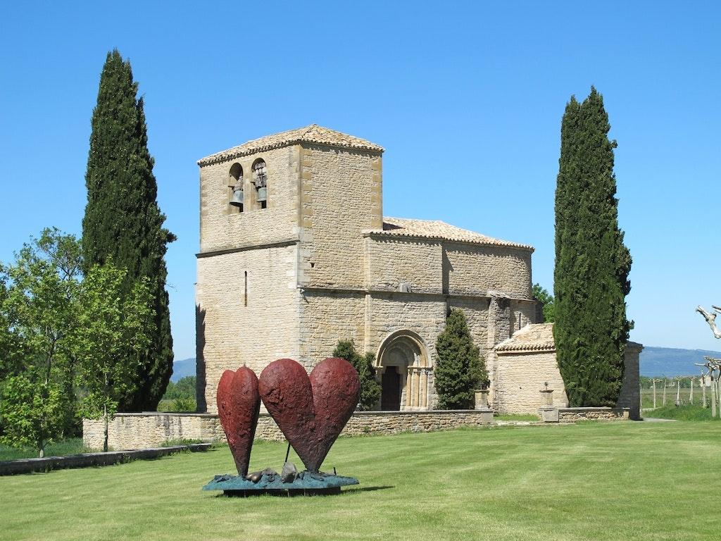 At Bodega Otazu, art is everywhere—even outside the property's 12th-century church.