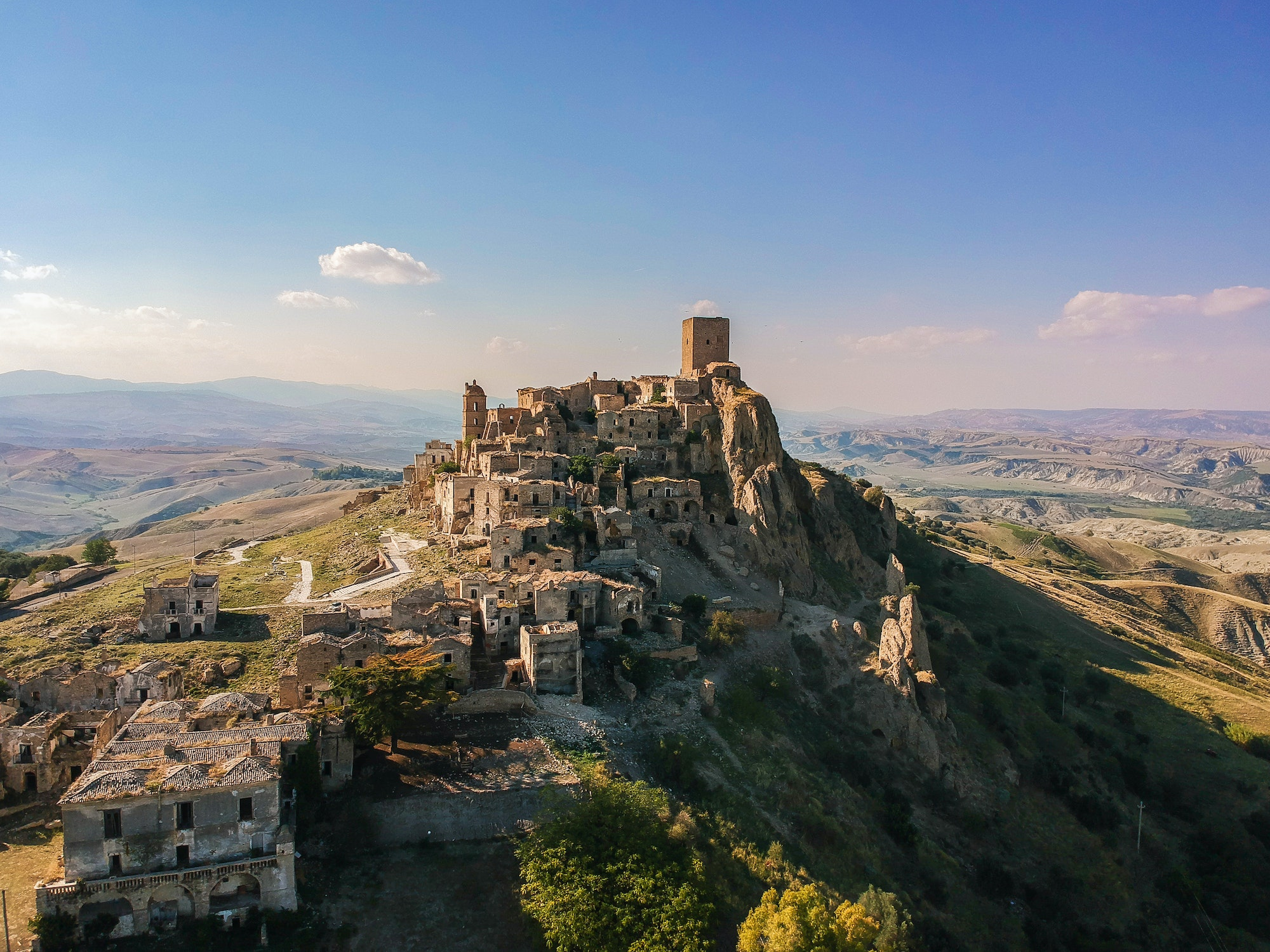 Craco, now a ghost town, was built during the Middle Ages on a cliff more than 1,000 feet tall.