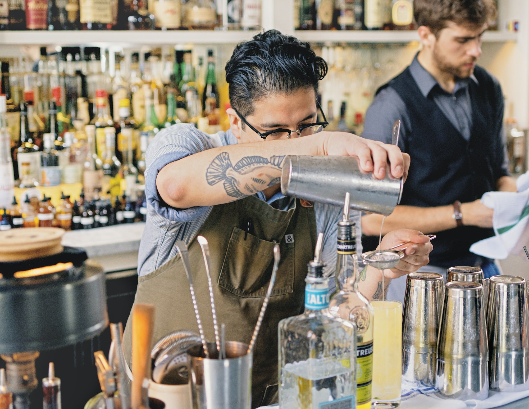 Bartenders at Spoon and Stable, another must-visit for cocktails in the Twin Cities