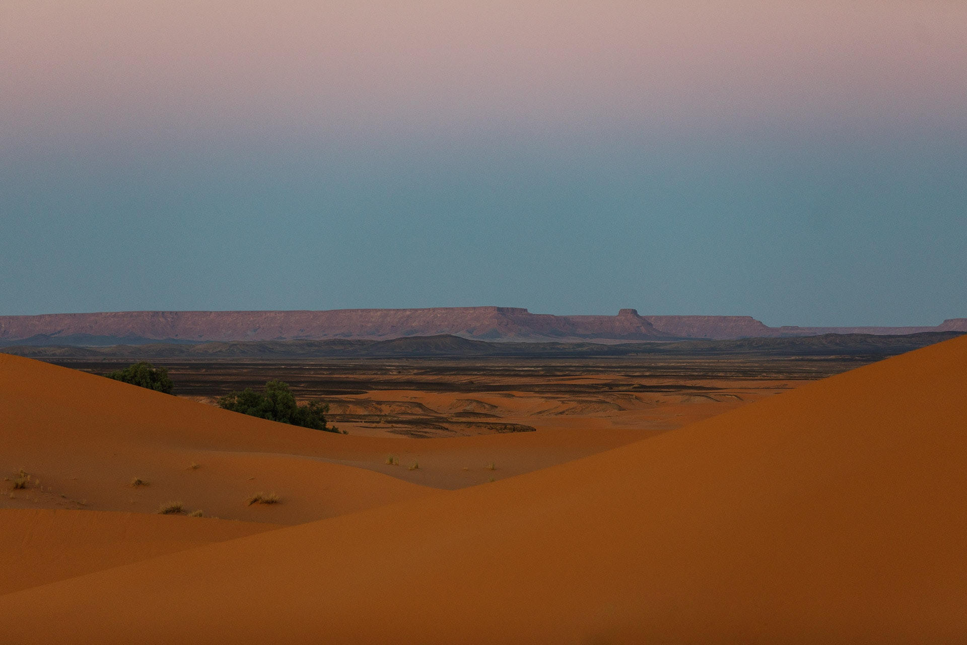 The Merzouga landscape beyond the sand dunes.