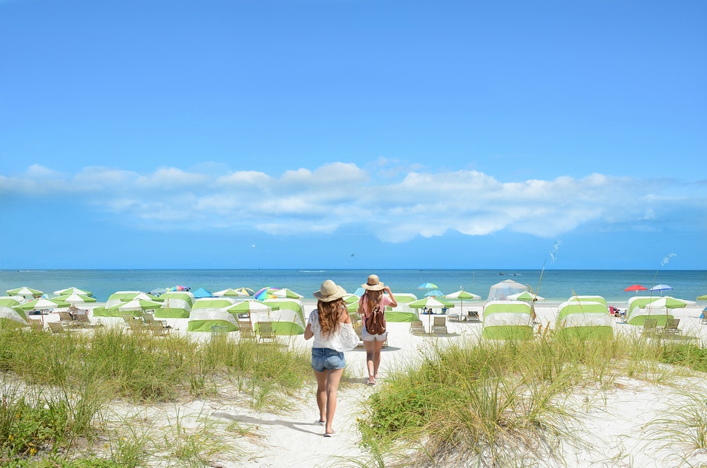 The Gulf of Mexico-fronting Clearwater Beach in Florida offers all the sunshine and spectacularly white sand you need.
