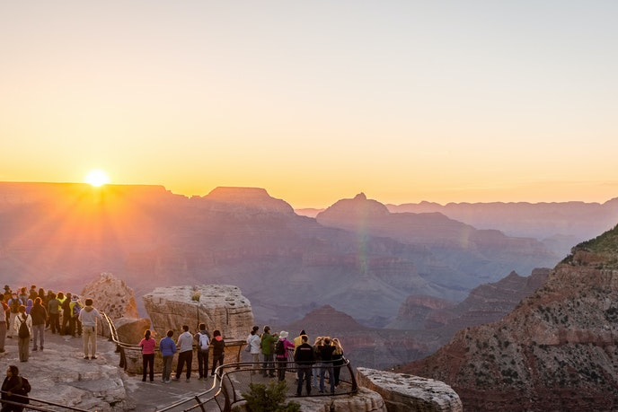 National parks enthusiasts can still enjoy most lookouts, including Mather Point in Grand Canyon National Park.