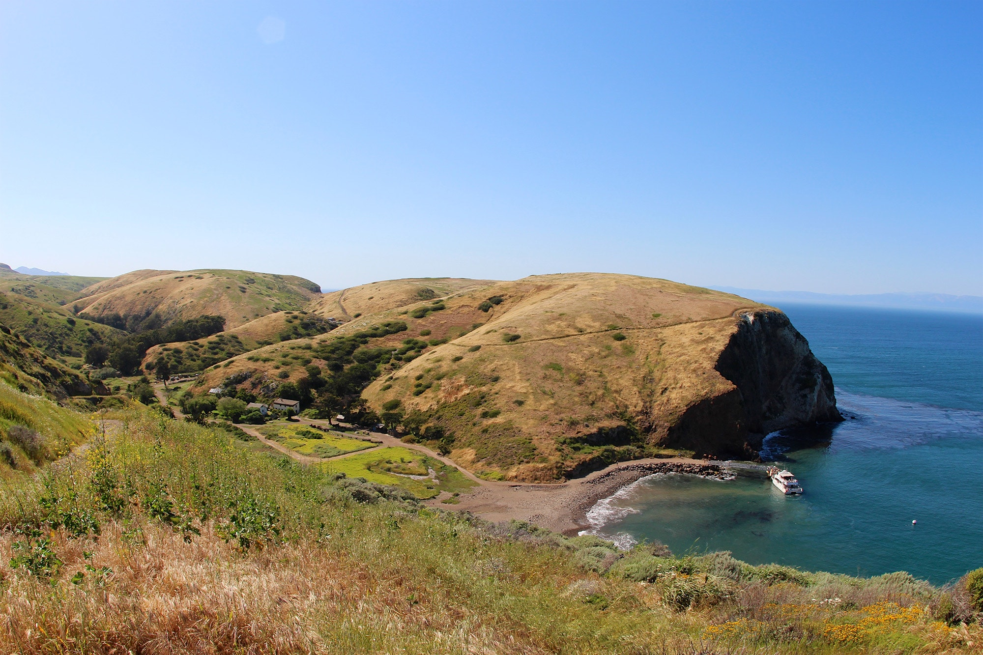 Scorpion Ranch Campground on Santa Cruz Island is just a half-mile walk from the beach at Scorpion Anchorage.
