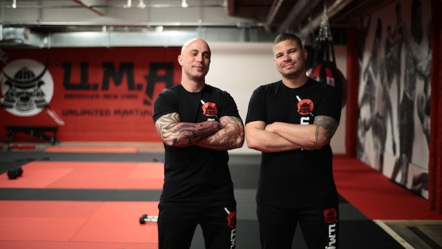 Phil Cruz (right) and Anthony Fontana, cofounders of Unlimited Martial Arts in Brooklyn, New York.