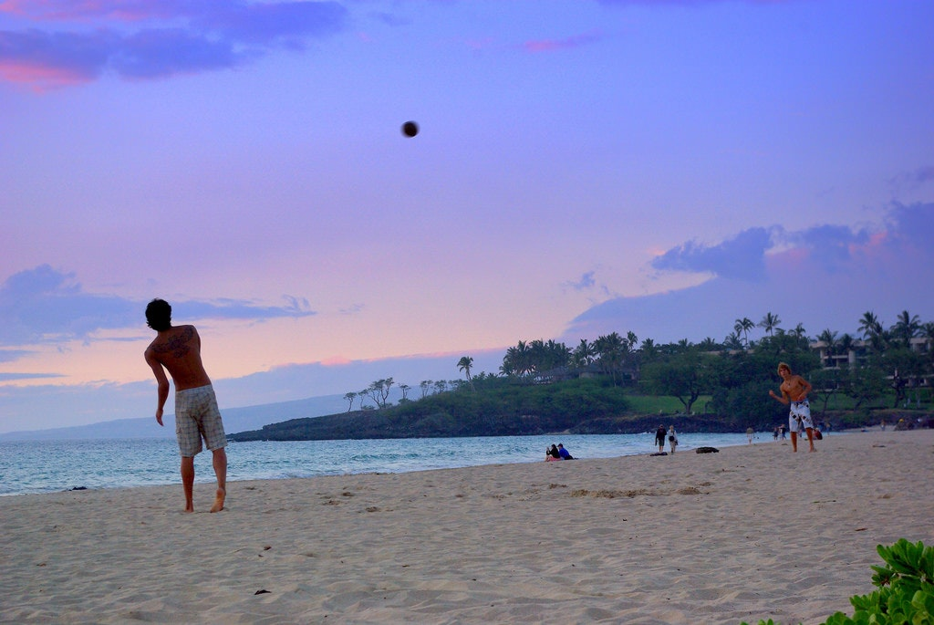 Passing the ball at Hapuna Beach