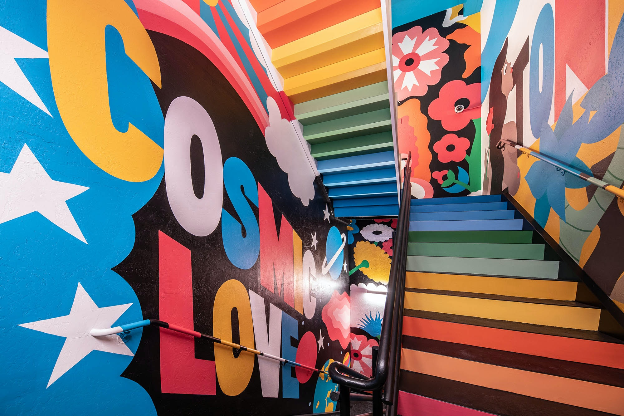 Part of the $620 million makeover at Palms included this secret staircase between Vetri Cucina and APEX Social Club with murals by Dabs Myla, the Australian pop-art team.