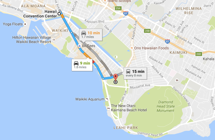 If you ask someone how to get from the convention center to the zoo, they'll likely tell you to take Kalakaua toward Diamond Head, then head mauka on Kapahulu.