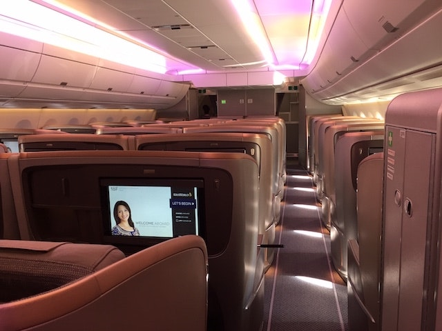 The interior of a Singapore Airlines A350