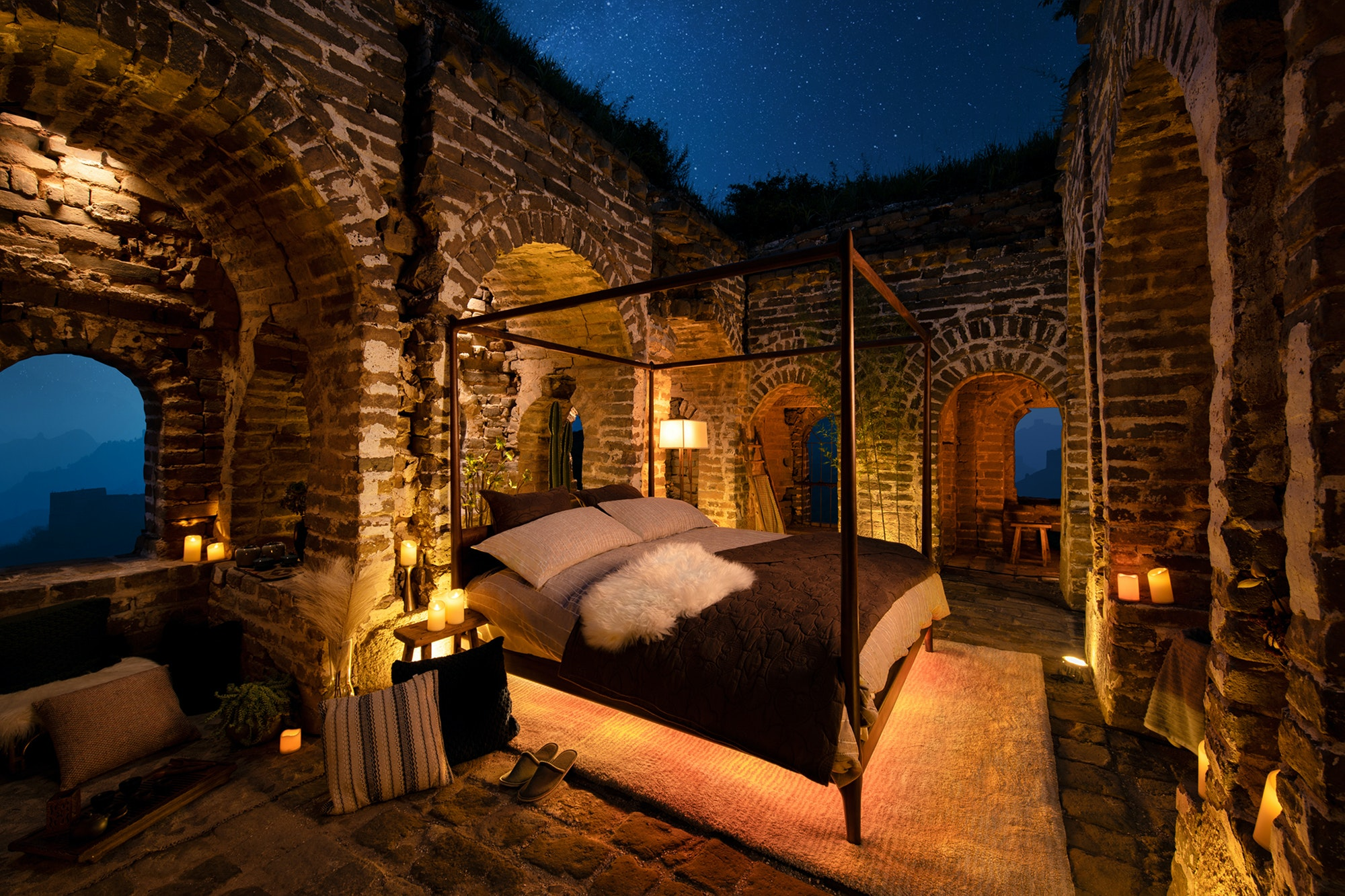 You can sleep under the stars at this glamping site inside a Great Wall watchtower.
