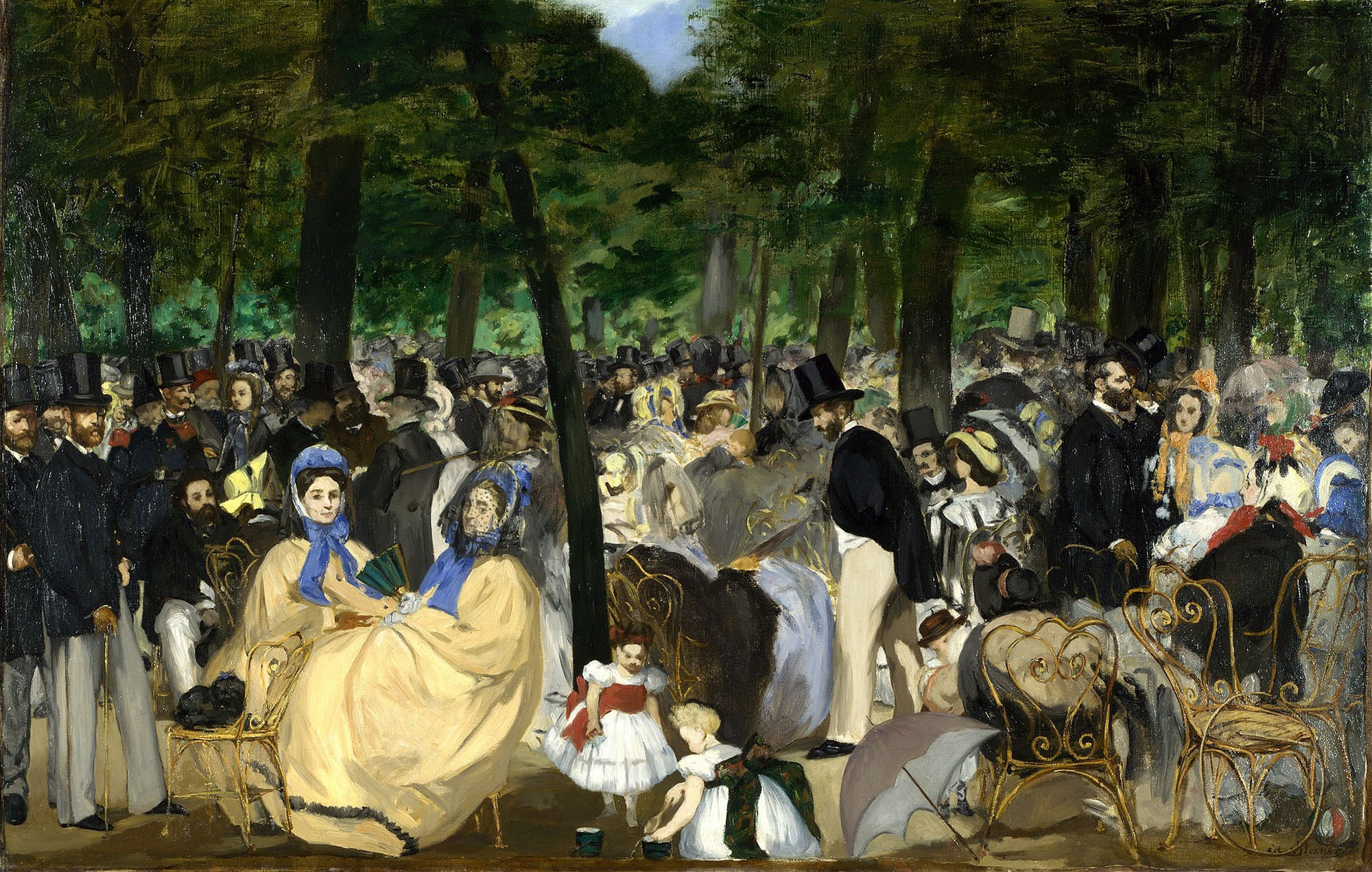 """Manet's painting """"La Musique aux Tuileries"""" shows a weekly concert in 1862."""